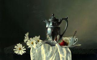 Заставки ромашки,цветки,бутоны,листья,лепестки,чайник,кружка