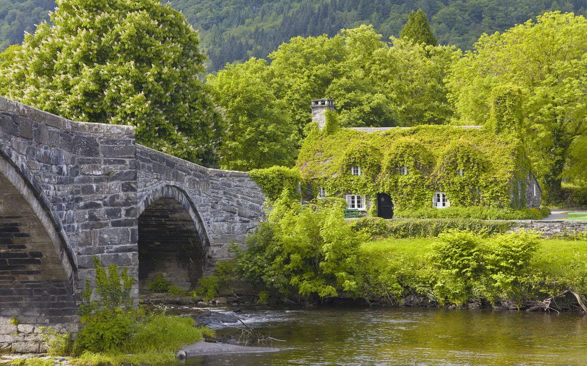 Фото бесплатно вода, река, озеро, берег, мост, дом, деревья, пейзажи, пейзажи