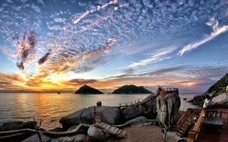 Бесплатные фото закат,небо,облака,море,берег,камни,острова