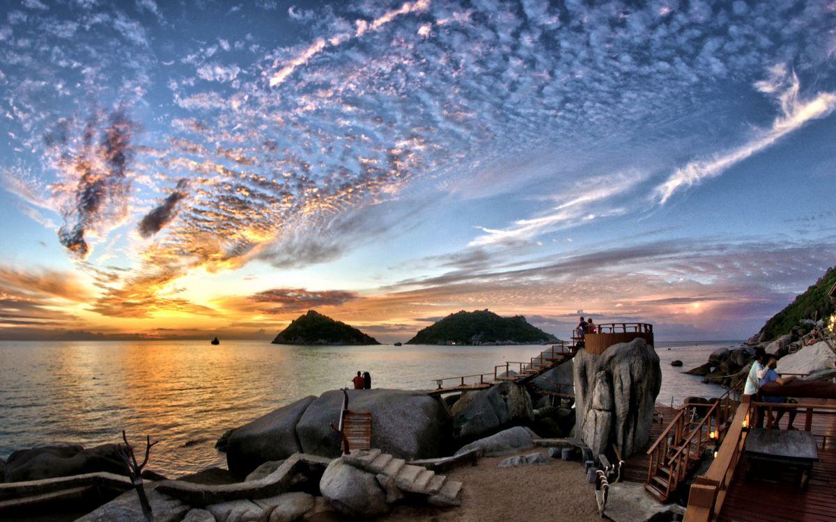 Фото бесплатно камни, облака, острова - на рабочий стол