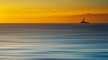 Заставки закат, небо, горизонт, маяк, свет, облака, море