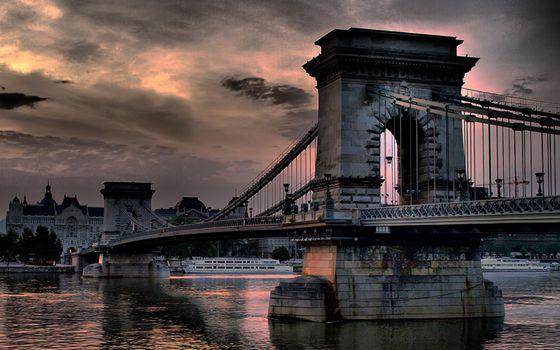 Фото бесплатно мост, колонны, река
