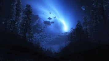 Заставки сияние, ночь, лес, звезды, яркий свет, природа