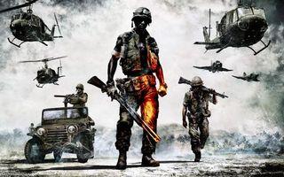 Бесплатные фото battlefield: bad company ii, вооружённая пехота и авиация, солдаты, техника, вертолёты, игры