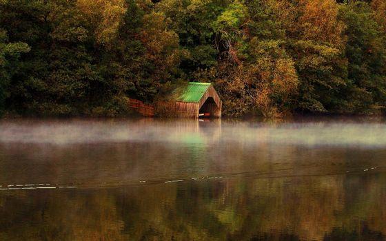 Фото бесплатно деревья, озеро, гараж