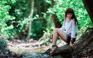 Фото бесплатно девушка, шатенка, рубашка