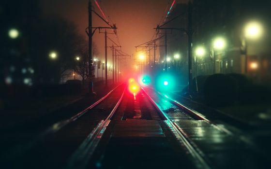Фото бесплатно огни, железная дорога, дорога