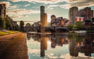 Фото бесплатно река, мост, дома