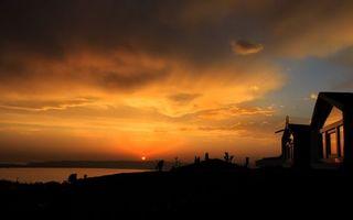 Бесплатные фото вечер, озеро, дом, небо, закат, облака