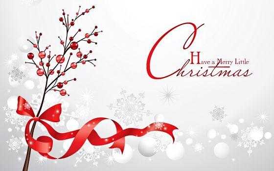 Фото бесплатно ветка, ягоды, бантик, ленточка, поздравление, обои, заставка, картинка, графика, снег, снежинки, новый год
