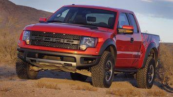 Фото бесплатно ford, джип, красный, песок, машины