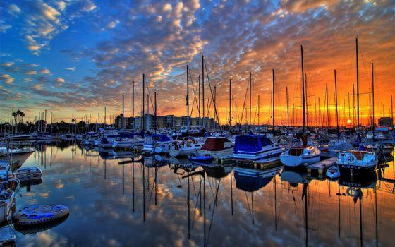 Фото бесплатно корабли, гавань, пристань, закат, солнце, пейзажи