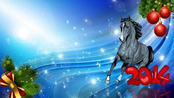 Фото бесплатно 2014, лошадь, серая, елка, ветки, новогодние, игрушки, красные, волны, блики, голубой, фон, рисунок, новый год