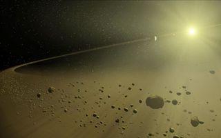 Фото бесплатно звезда, планета, спутник, метеориты, осколки, космос