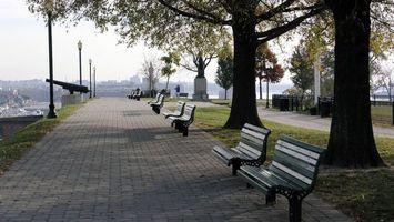 Бесплатные фото алея,деревья,скамейки,красиво,памятник,пушка,город