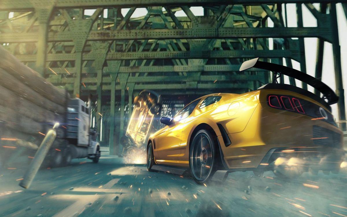 Фото бесплатно автомобиль, колеса, диски, фары, капот, багажник, асфальт, камни, искры, мост, машины, машины