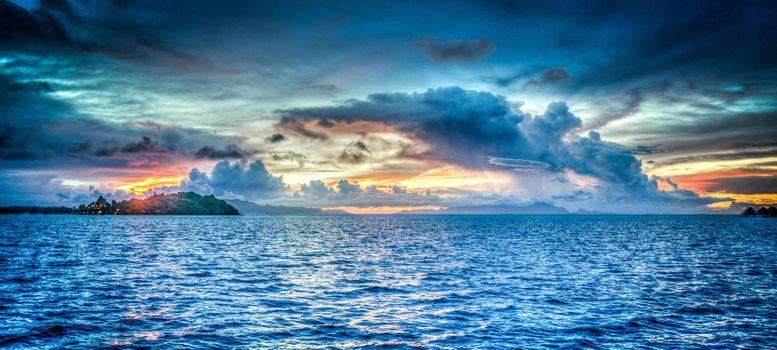 Photo free bora bora, french polynesia, sunset