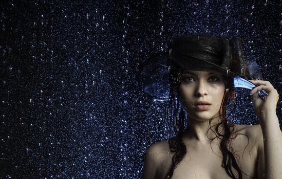 Photo free hat, model, girl in the rain