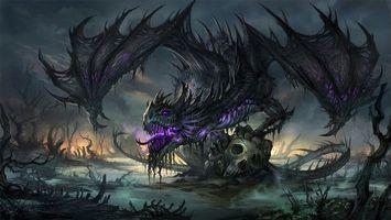 Обои дракон, крылья, глаза, светятся, пасть, язык, лапы, череп, фантастика