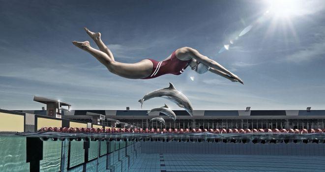 Фото бесплатно пловчиха, прыжок, нырок, в воду, бассейн, дельфины, спорт