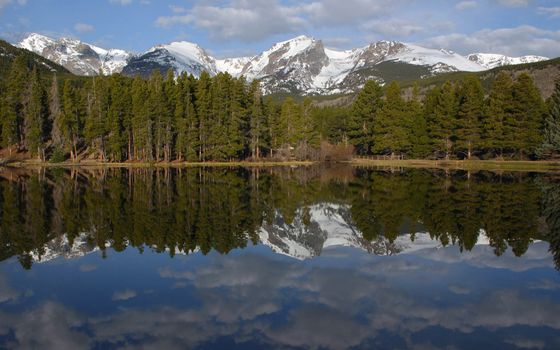 озеро, лес, домик, мостик, горы