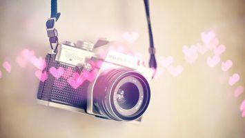 Заставки фотоаппарат, сердечки, графика