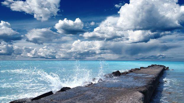 Бесплатные фото море,вода,волны,брызги,волнорез,небо,облака,природа