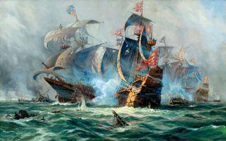 Фото бесплатно морская баталия, парусники, корабли
