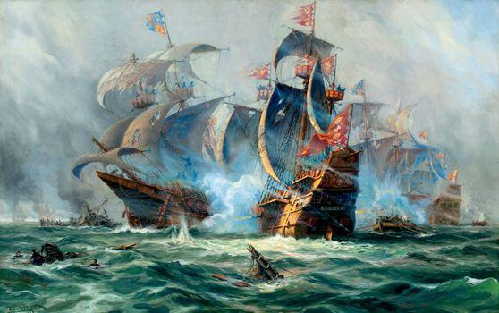 Заставки морская баталия, парусники, корабли