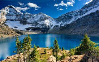 Фото бесплатно небо, облака, горы, снег, мороз, холод, деревья, елки, иголки, пейзажи