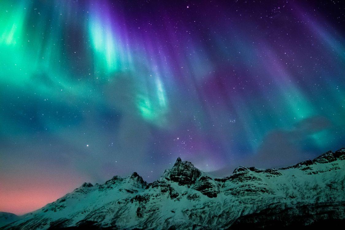 Фото бесплатно Норвегия, горы, ночь, сияние, пейзаж, пейзажи