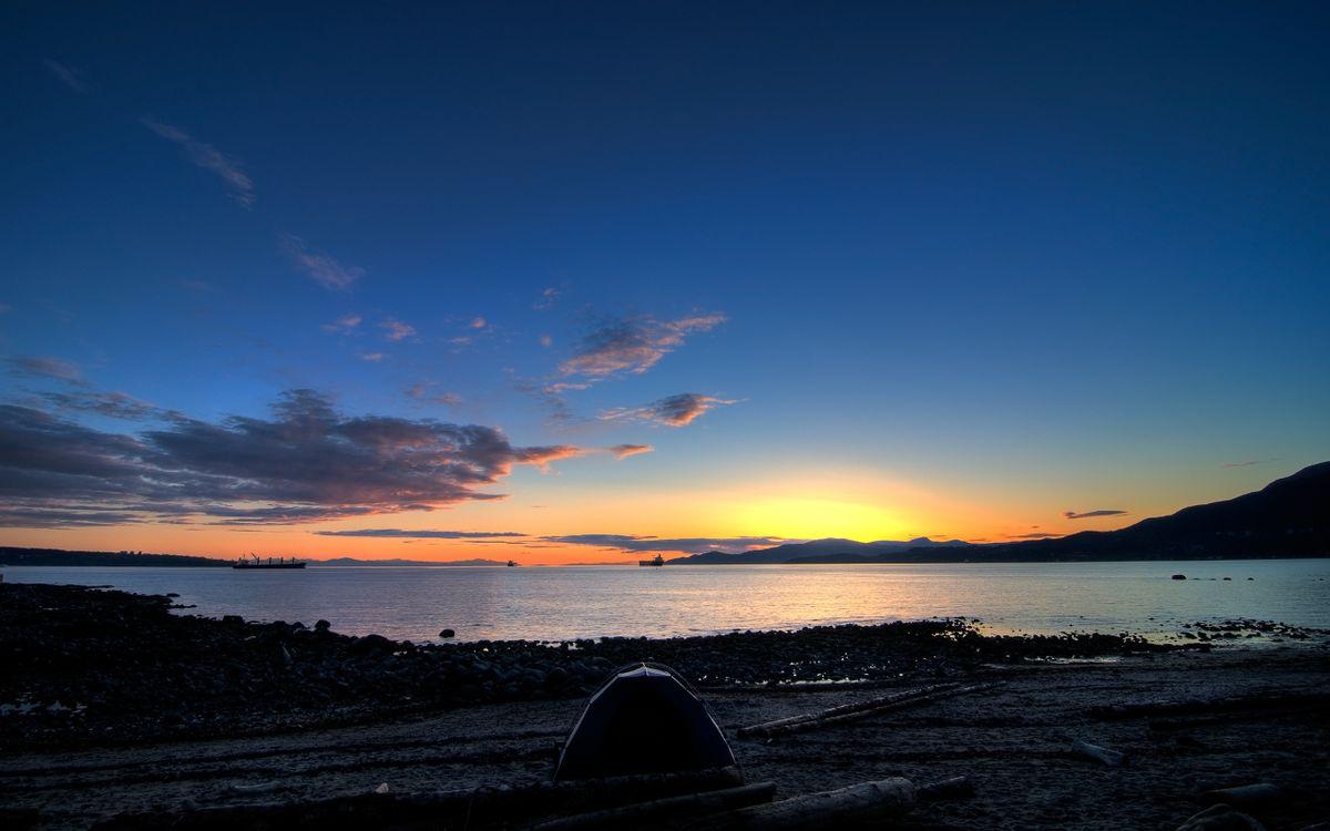 Фото бесплатно озеро, берег, палатка, закат, небо, облака, пейзажи, пейзажи