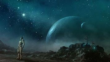 Бесплатные фото планеты,звезды,галактики,робот,скафандр,почва,космос