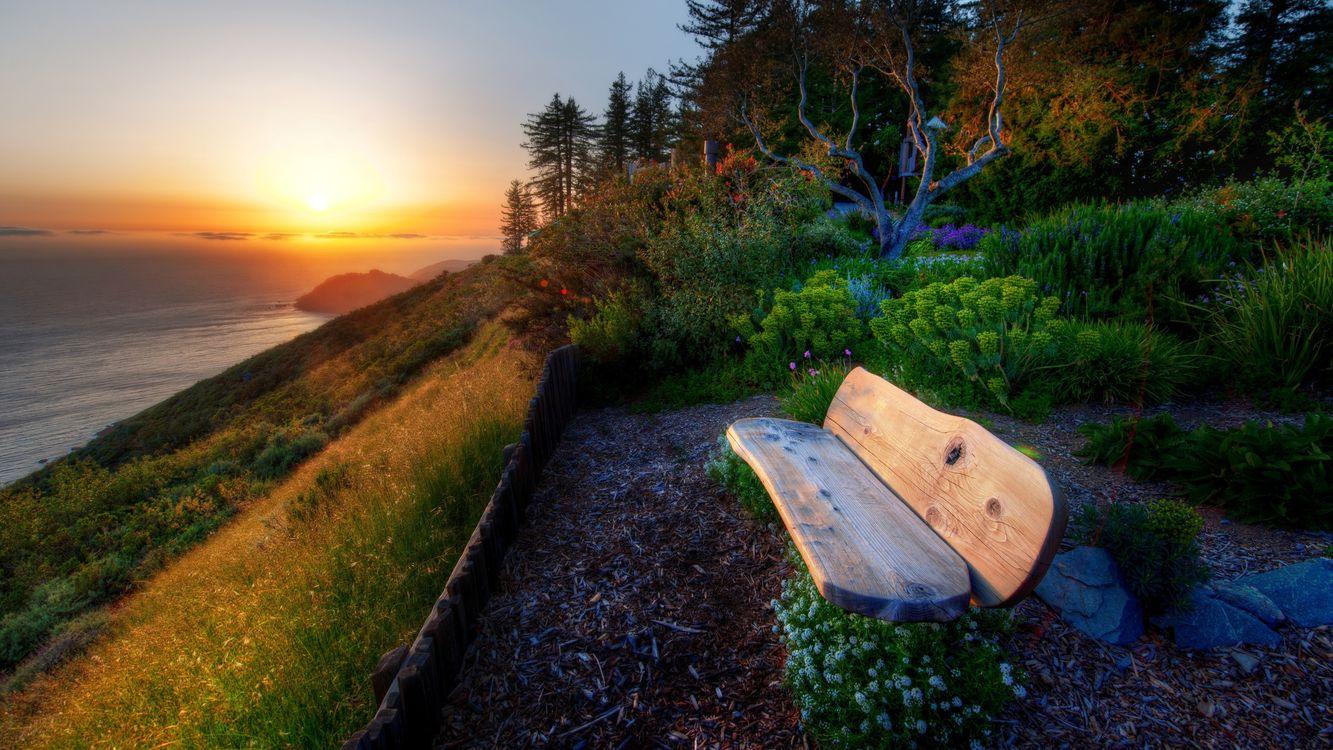 Фото бесплатно река, трава, скамейка - на рабочий стол