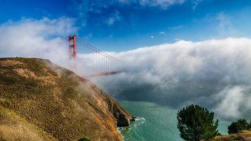 Фото бесплатно река, туман, мост