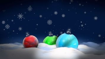 Фото бесплатно шарики, снег, снежинки