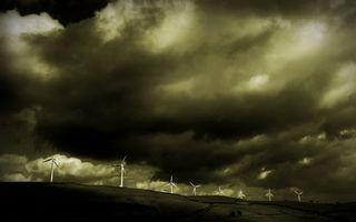 Заставки тучи,небо,непогода,ветряки,поле,трава,ветер