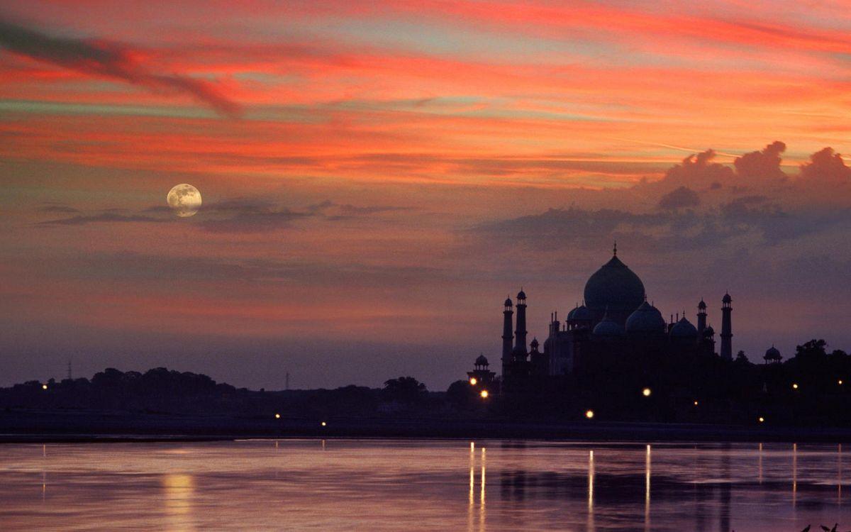 Фото бесплатно Луна, облака, река - на рабочий стол