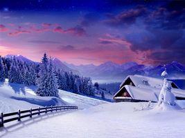Бесплатные фото зима,снег,вечер,пейзажи
