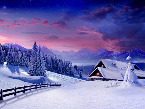 Заставки зима, снег, вечер
