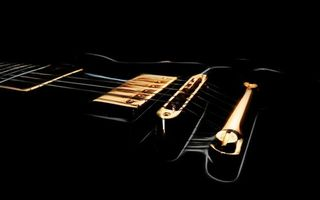 Photo free electric guitar, strings, background black
