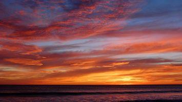 Заставки Пляж, закат, волны