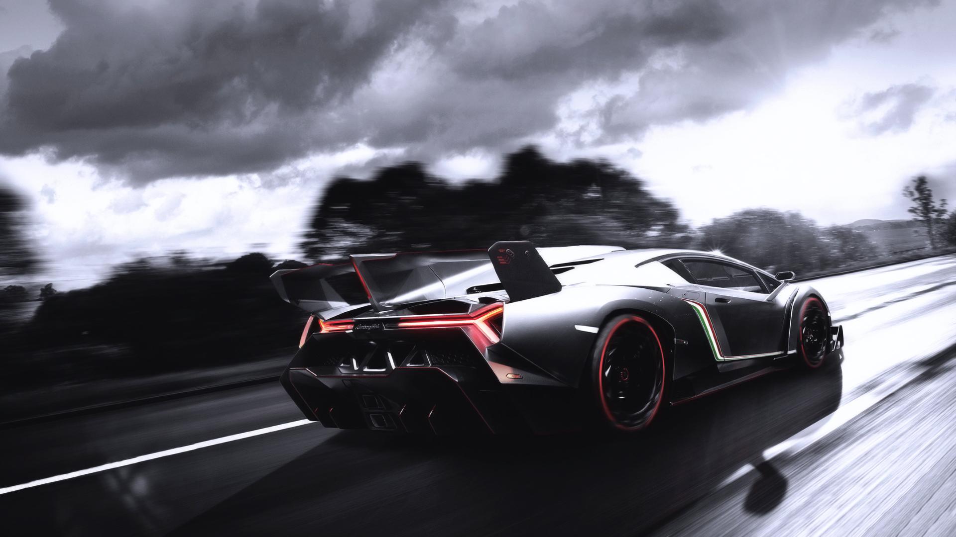 Lamborghini, скорость, тучи