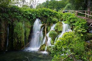 Фото бесплатно Национальный парк Плитвицкие озера, Хорватия, водопад