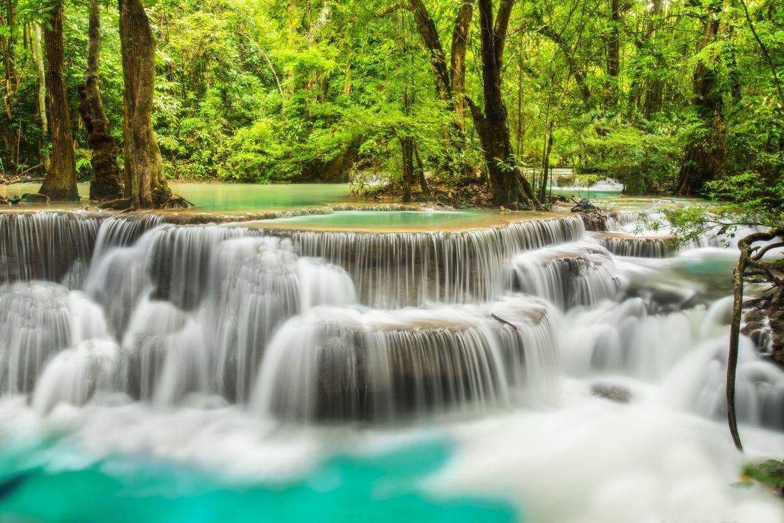 Фото бесплатно Канчанабури, Таиланд, водопад, каскад, река, деревья, природа, природа
