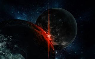 Фото бесплатно столкновение планет, энергия, удар, температуры, свечение