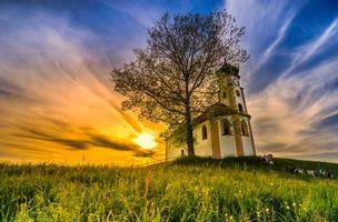 Обои закат, поле, деревья, часовня, Германия, пейзаж