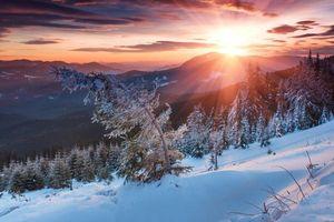 Фото бесплатно закат, горы, деревья