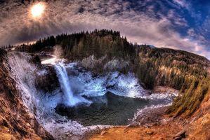 Бесплатные фото Snoqualmie Falls,Washington State,водопад,речка,закат,скалы,деревья