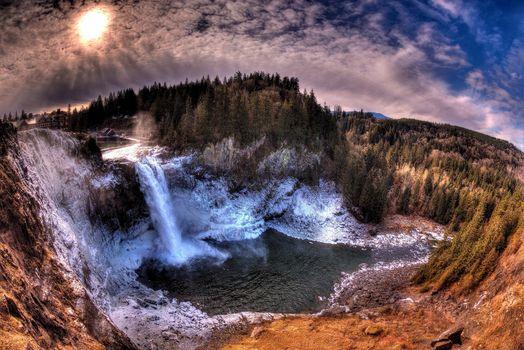 Бесплатные фото Snoqualmie Falls,Washington State,водопад,речка,закат,скалы,деревья,природа,пейзаж,панорама